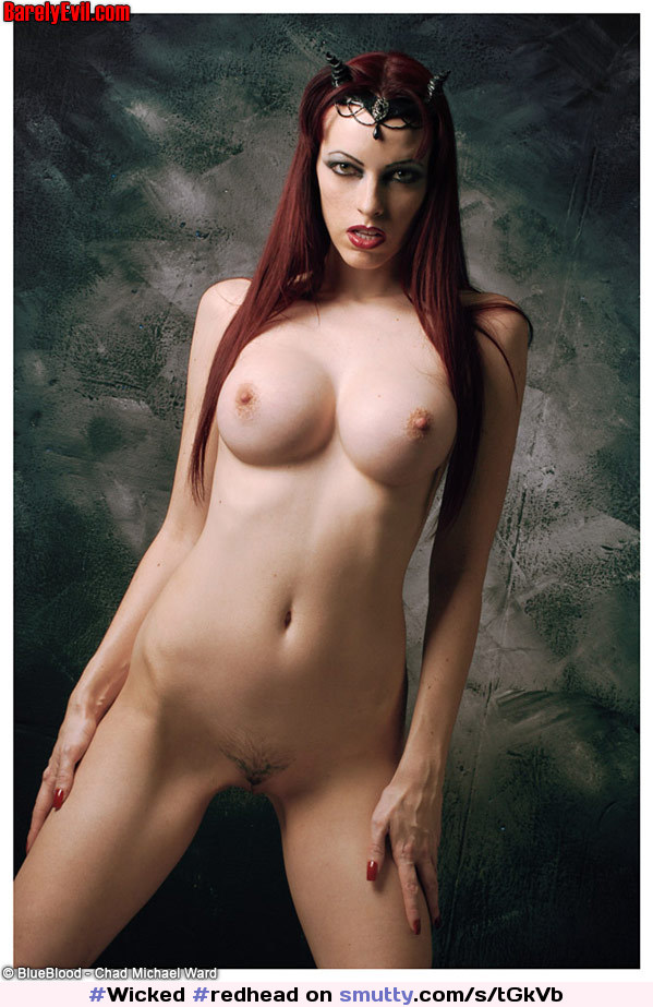 #Wicked #redhead #EmilyMarilyn with #horns #CompletelyNaked #shedevil #shebeast #EvilLook #longhair #horny #witch #666