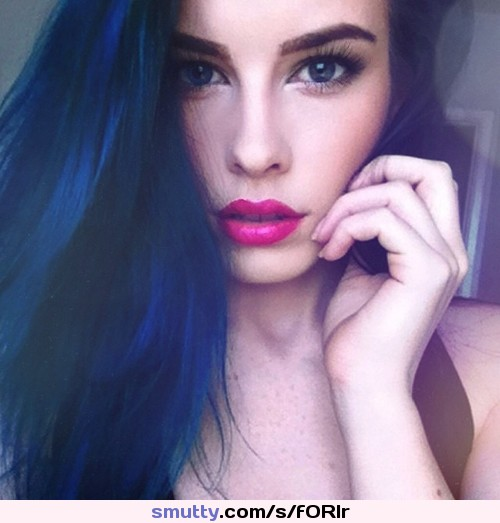#LaurenCalaway #portrait #bluehair #pinklips