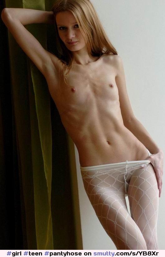 Girl Teen Pantyhose Skinny Thin Lean Slender Thin Posing Sexy Hot Smalltits  -9603