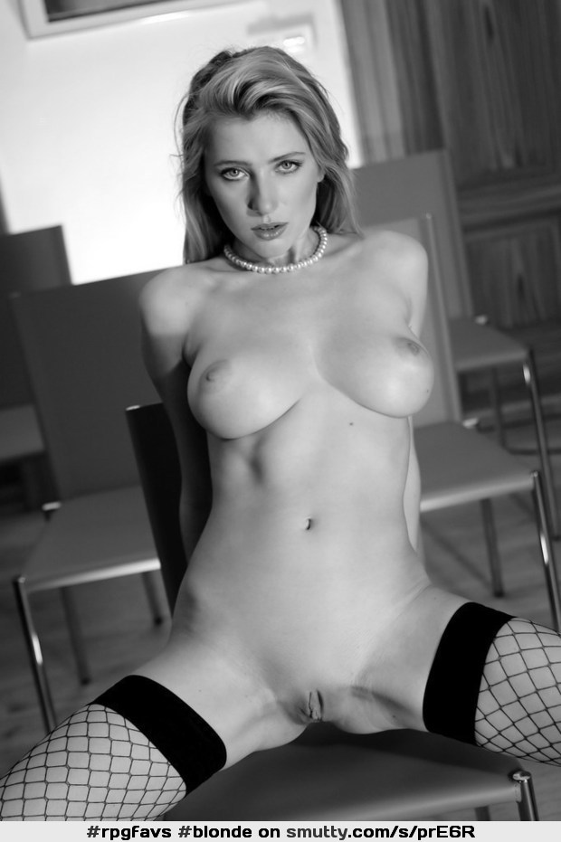 #blonde#fishnetStockings#stockings#fishnets#eyecontact#BlackAndWhite#legsspreadopen#pearls#pearlnecklace#nipples#boobs#breasts#tits#cleavage