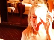 #longneck schon #blond melkerin takes raquet-full of #facialcumshot #strings, #leaving #goo #dangling from #nose & #chin +#smile 0:52 #video