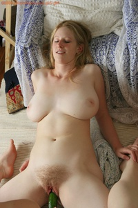 Cucumber In Hairy Pussy